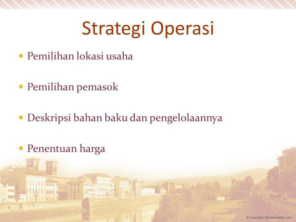 Strategi Operasi Pemilihan lokasi usaha Pemilihan pemasok