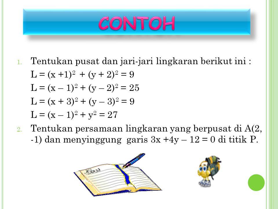 CONTOH Tentukan pusat dan jari-jari lingkaran berikut ini :