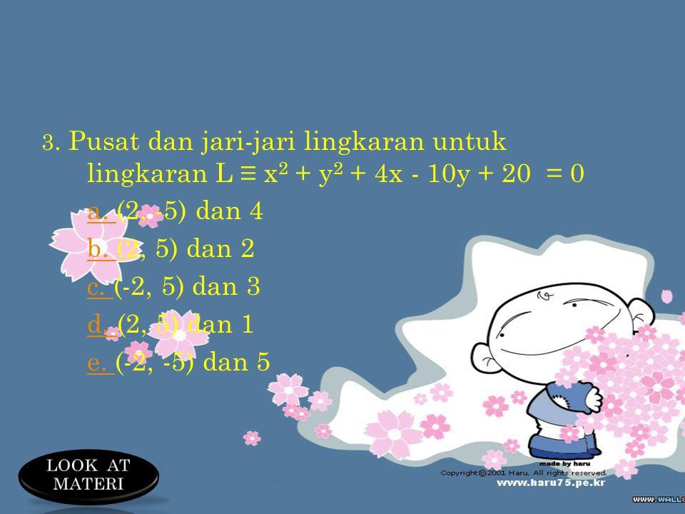 a. (2, -5) dan 4 b. (2, 5) dan 2 c. (-2, 5) dan 3 d. (2, 5) dan 1
