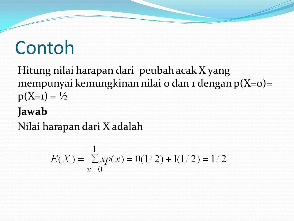 Contoh Hitung nilai harapan dari peubah acak X yang mempunyai kemungkinan nilai 0 dan 1 dengan p(X=0)= p(X=1) = ½ Jawab Nilai harapan dari X adalah