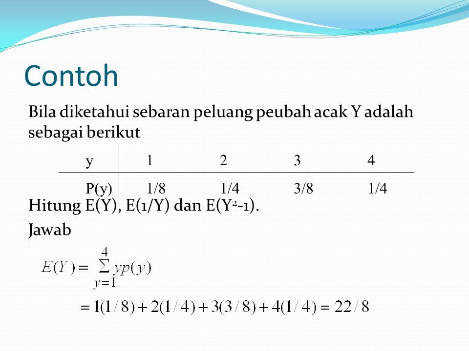 Contoh Bila diketahui sebaran peluang peubah acak Y adalah sebagai berikut Hitung E(Y), E(1/Y) dan E(Y2-1). Jawab