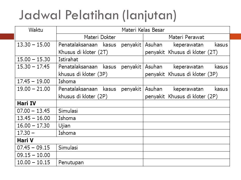 Jadwal Pelatihan (lanjutan)