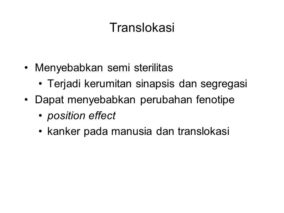 Translokasi Menyebabkan semi sterilitas