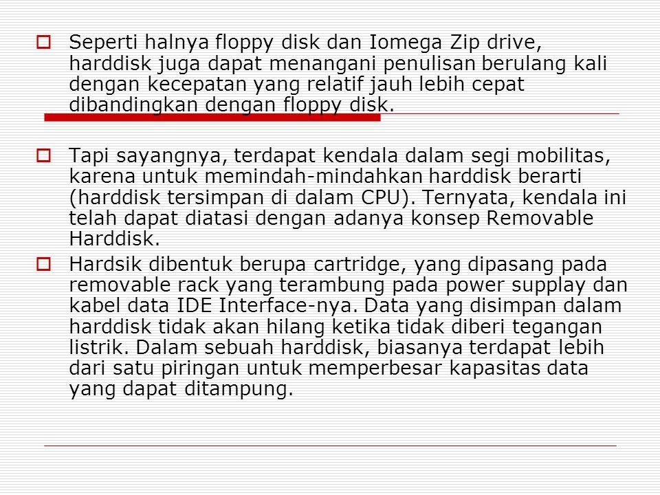 Seperti halnya floppy disk dan Iomega Zip drive, harddisk juga dapat menangani penulisan berulang kali dengan kecepatan yang relatif jauh lebih cepat dibandingkan dengan floppy disk.