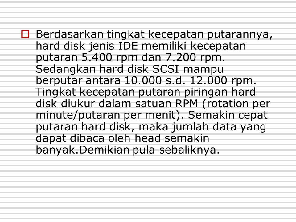 Berdasarkan tingkat kecepatan putarannya, hard disk jenis IDE memiliki kecepatan putaran 5.400 rpm dan 7.200 rpm.