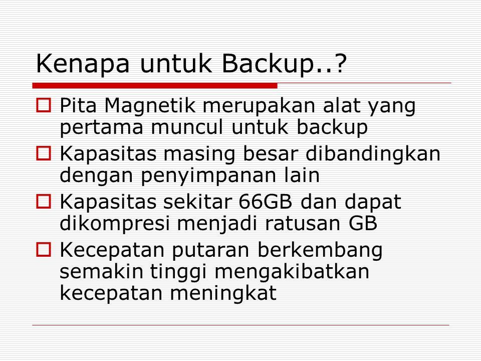 Kenapa untuk Backup.. Pita Magnetik merupakan alat yang pertama muncul untuk backup. Kapasitas masing besar dibandingkan dengan penyimpanan lain.