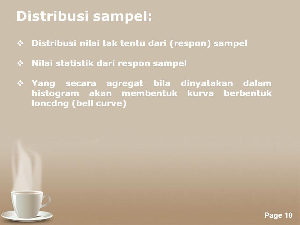 Distribusi sampel: Distribusi nilai tak tentu dari (respon) sampel