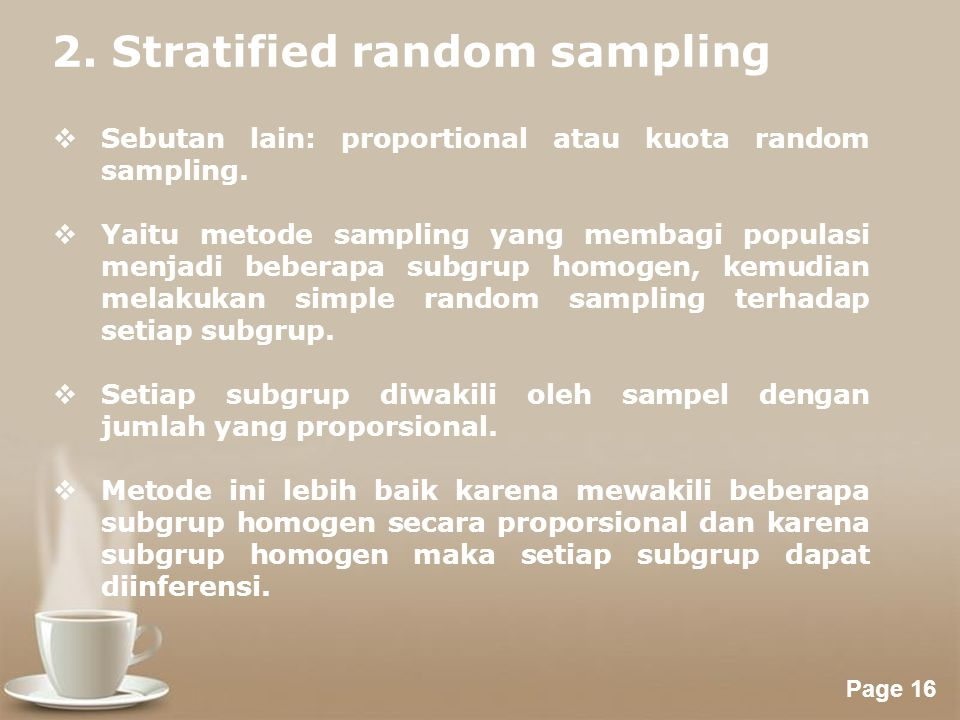 2. Stratified random sampling