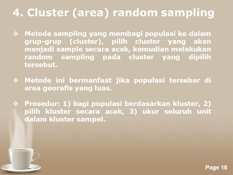 4. Cluster (area) random sampling