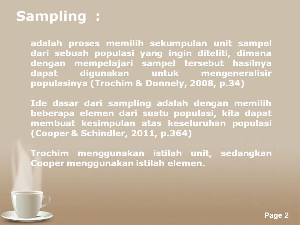 Sampling :
