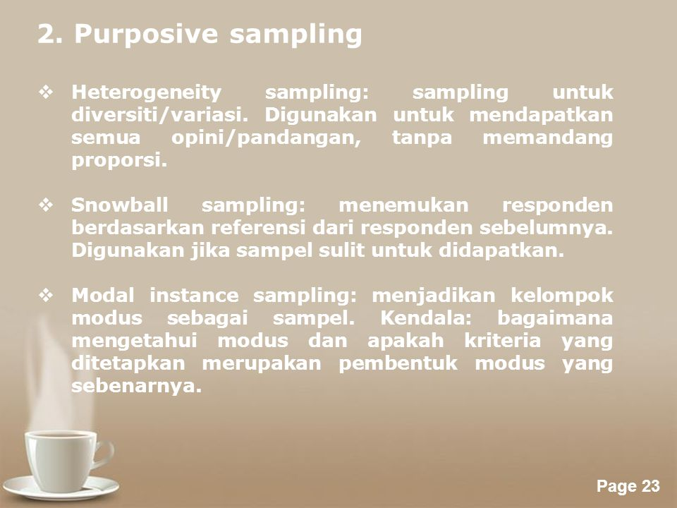 2. Purposive sampling