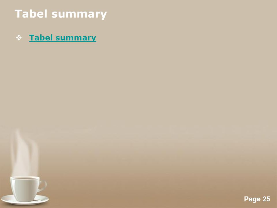 Tabel summary Tabel summary