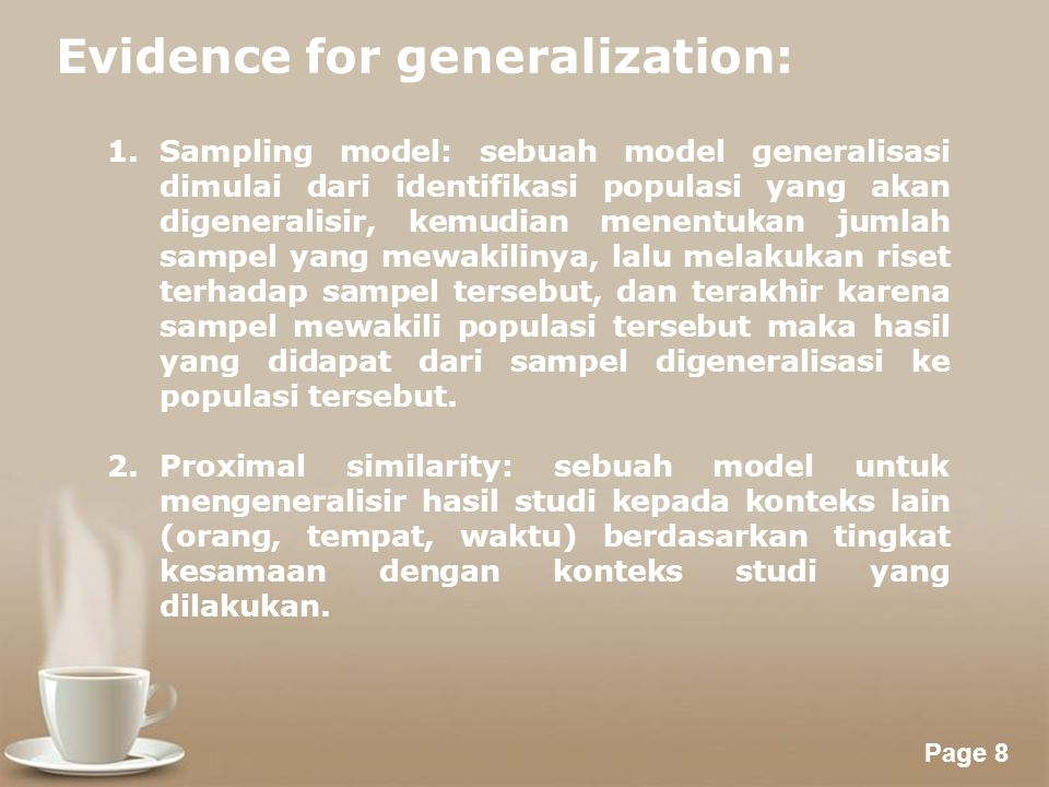 Evidence for generalization: