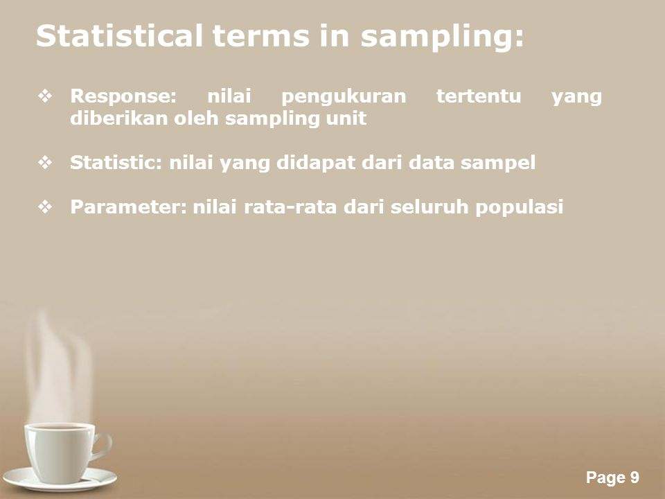 Statistical terms in sampling: