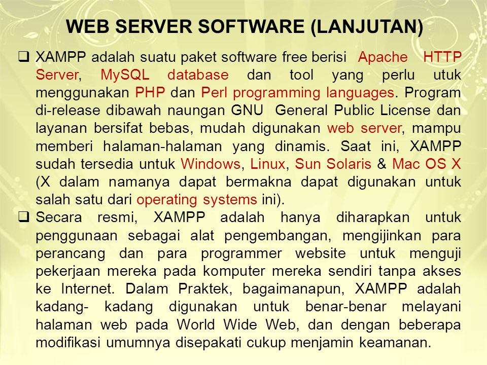 WEB SERVER SOFTWARE (LANJUTAN)