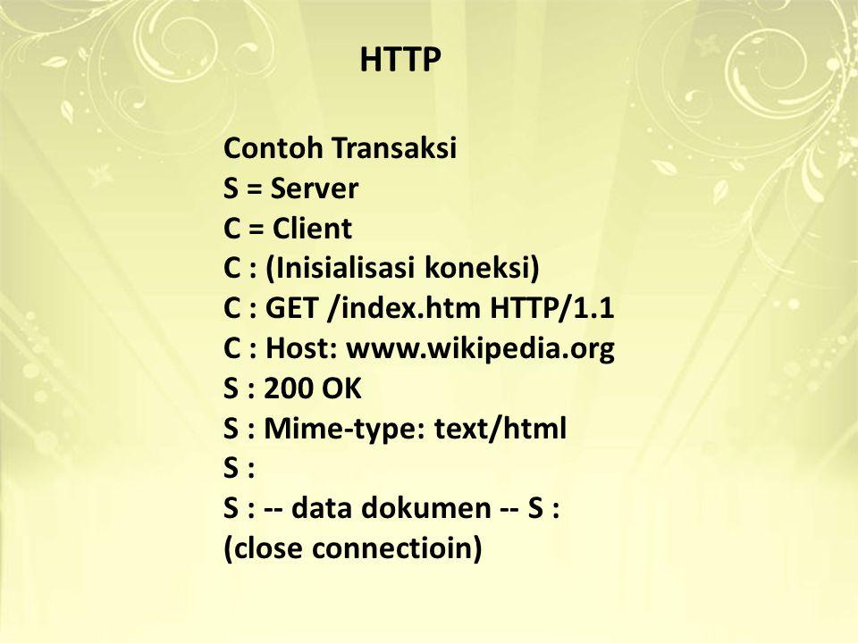 HTTP Contoh Transaksi S = Server C = Client C : (Inisialisasi koneksi)