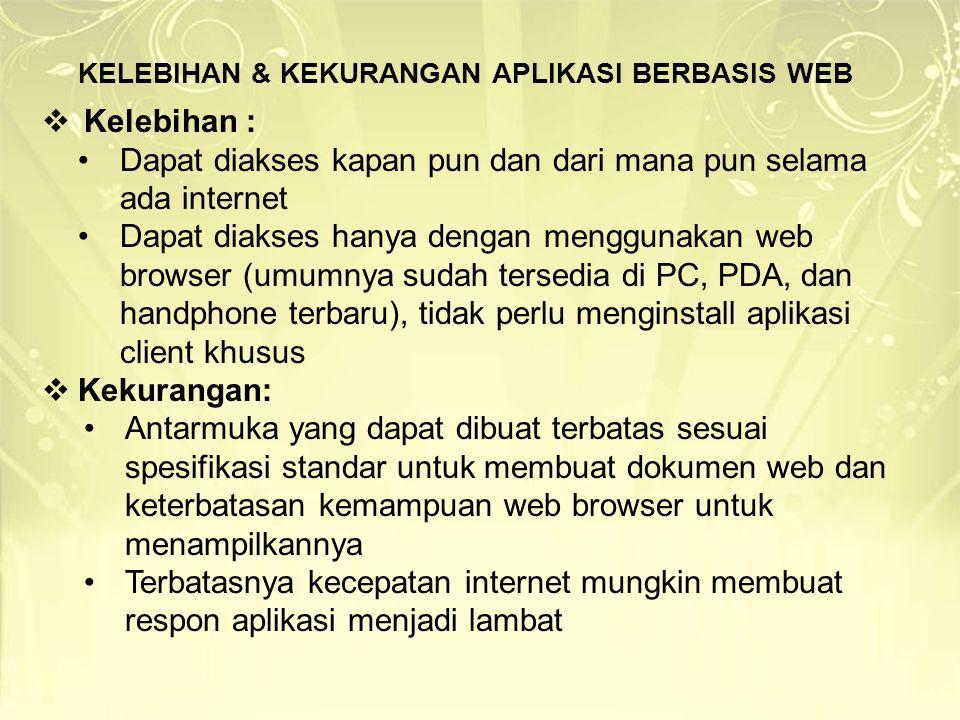 KELEBIHAN & KEKURANGAN APLIKASI BERBASIS WEB