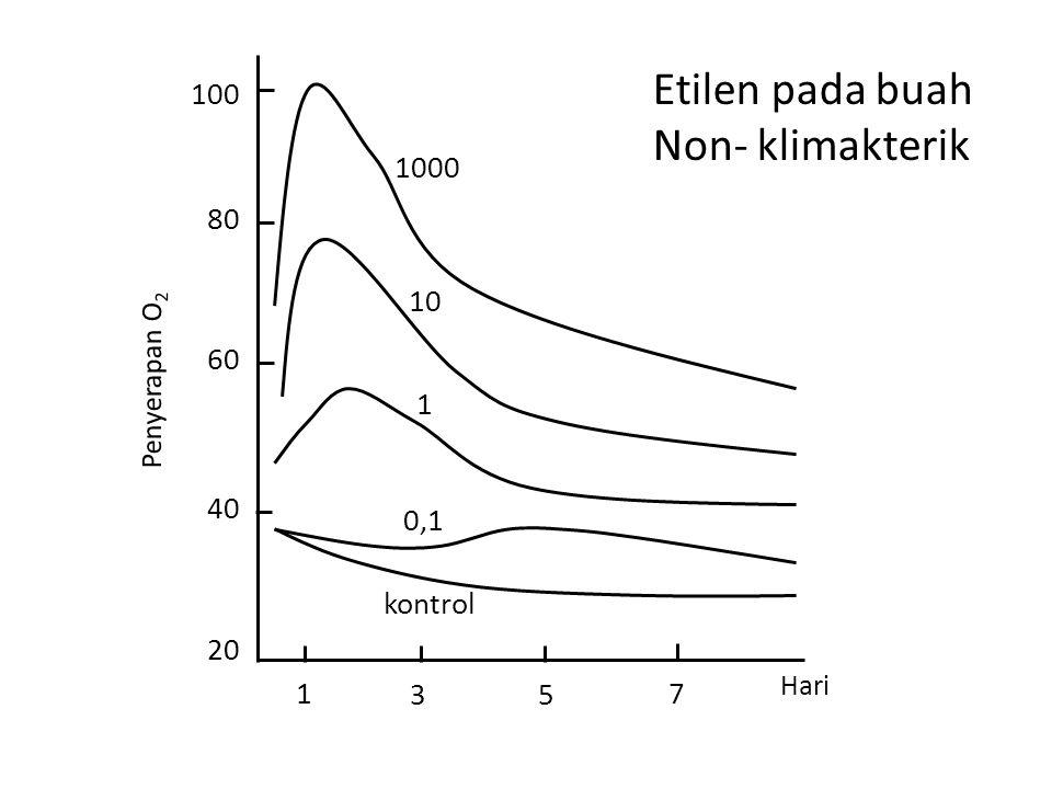 Etilen pada buah Non- klimakterik 100 1000 80 10 60 1 40 0,1 kontrol