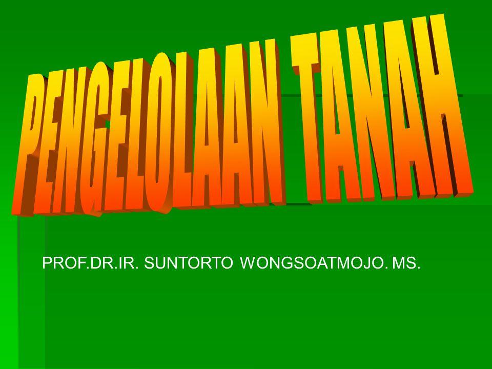 PENGELOLAAN TANAH PROF.DR.IR. SUNTORTO WONGSOATMOJO. MS.