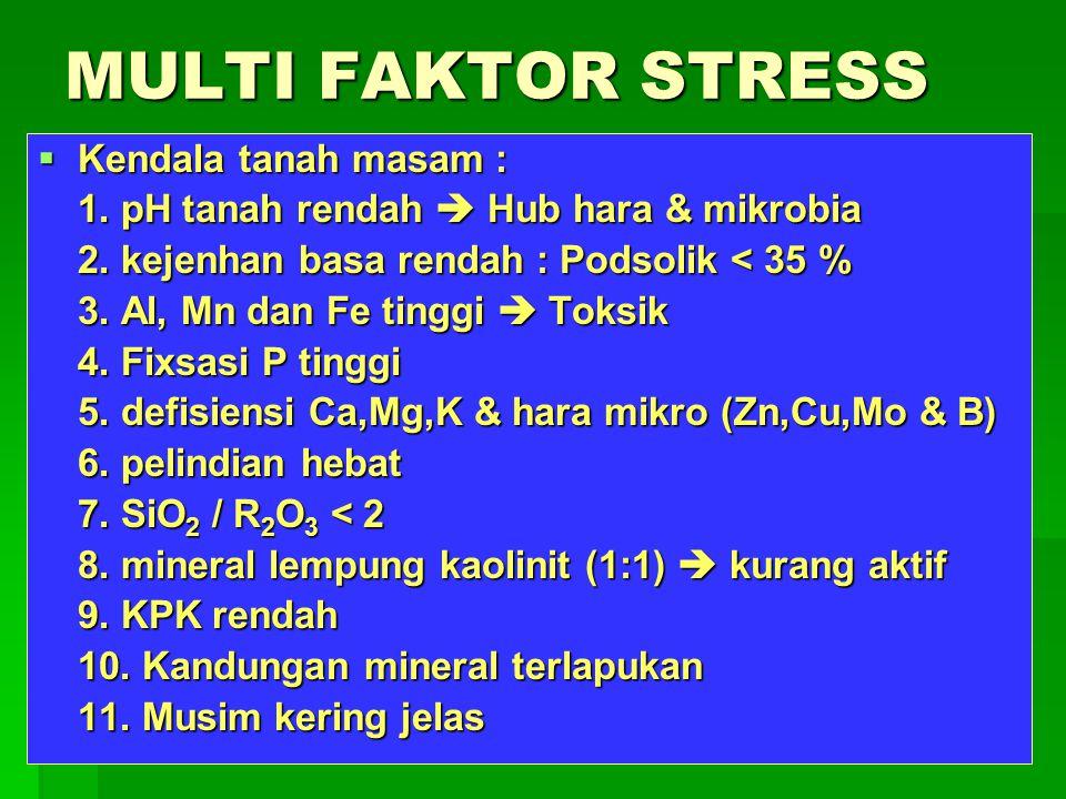 MULTI FAKTOR STRESS Kendala tanah masam :