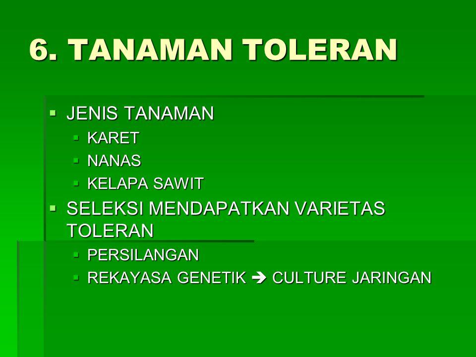 6. TANAMAN TOLERAN JENIS TANAMAN SELEKSI MENDAPATKAN VARIETAS TOLERAN