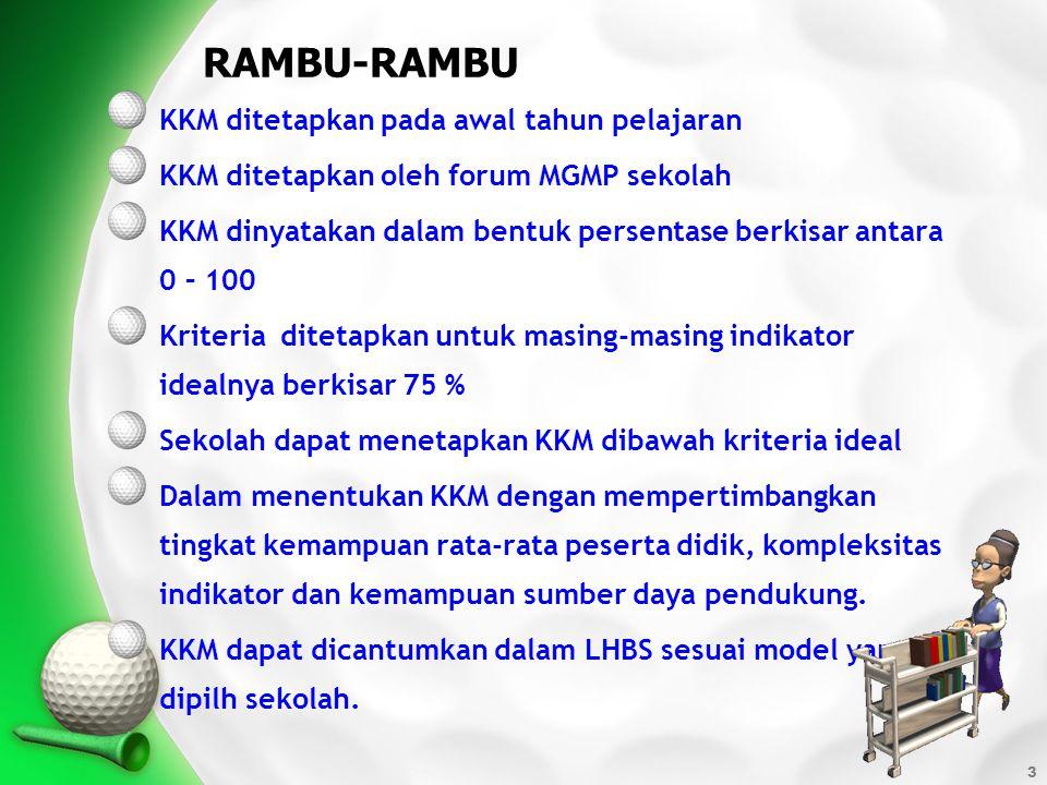 RAMBU-RAMBU KKM ditetapkan pada awal tahun pelajaran