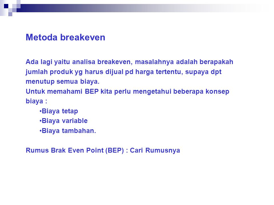 Metoda breakeven