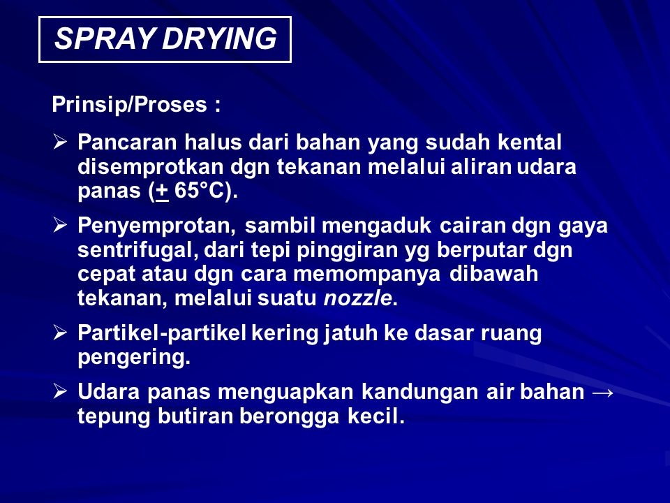 SPRAY DRYING Prinsip/Proses :