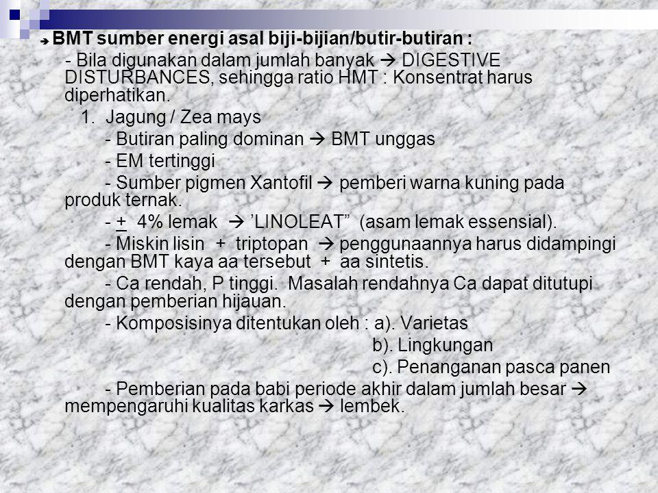 - Butiran paling dominan  BMT unggas - EM tertinggi