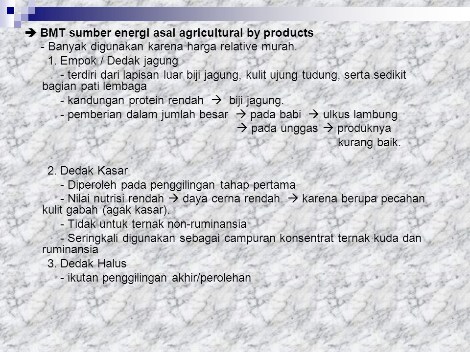  BMT sumber energi asal agricultural by products