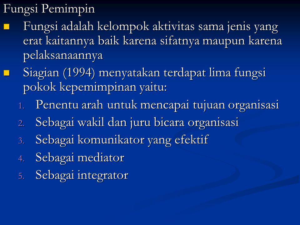 Fungsi Pemimpin Fungsi adalah kelompok aktivitas sama jenis yang erat kaitannya baik karena sifatnya maupun karena pelaksanaannya.
