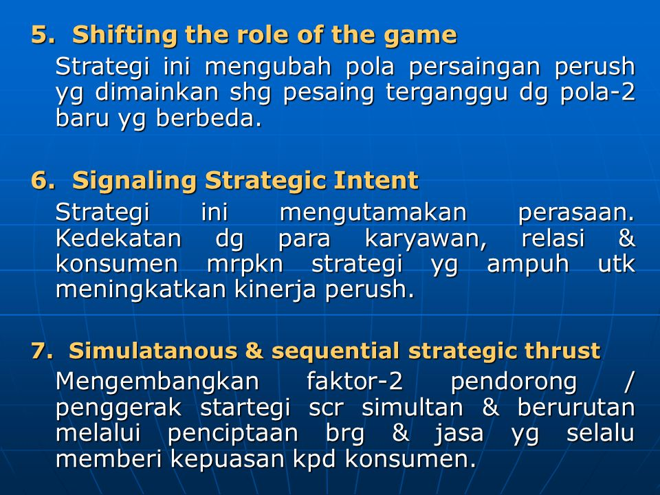 5. Shifting the role of the game