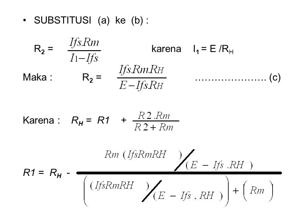 SUBSTITUSI (a) ke (b) : R2 = karena I1 = E /RH. Maka : R2 = …………………. (c)