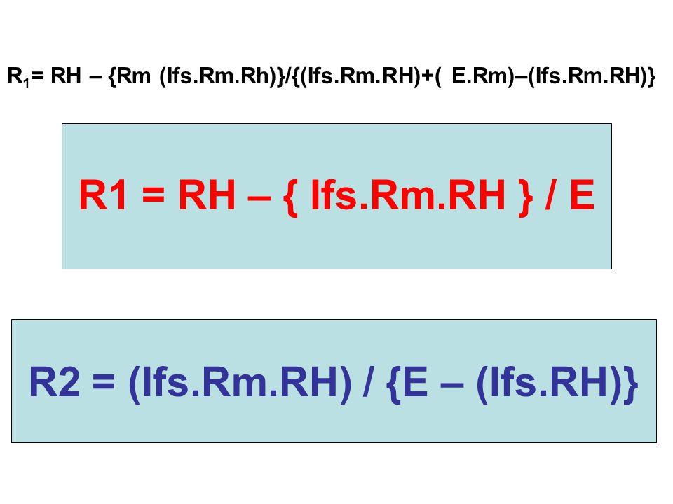R2 = (Ifs.Rm.RH) / {E – (Ifs.RH)}