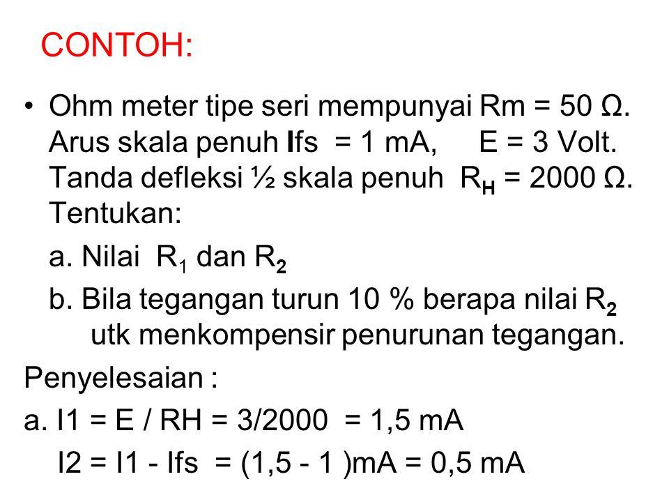 CONTOH: Ohm meter tipe seri mempunyai Rm = 50 Ω. Arus skala penuh Ifs = 1 mA, E = 3 Volt. Tanda defleksi ½ skala penuh RH = 2000 Ω. Tentukan: