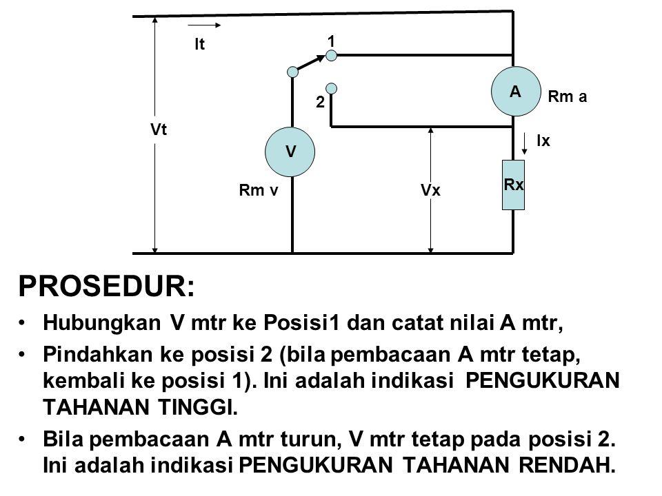 PROSEDUR: Hubungkan V mtr ke Posisi1 dan catat nilai A mtr,