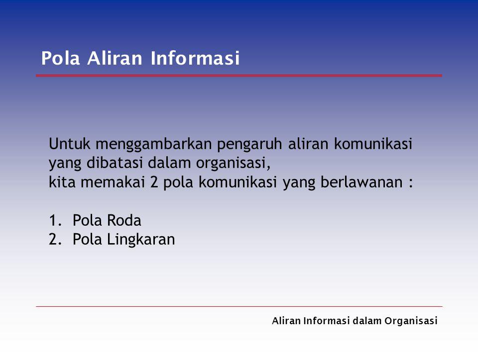 Pola Aliran Informasi Untuk menggambarkan pengaruh aliran komunikasi
