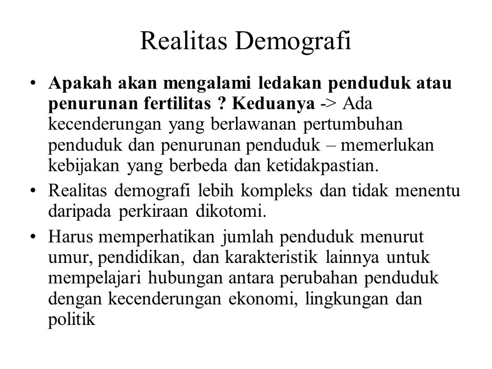 Realitas Demografi