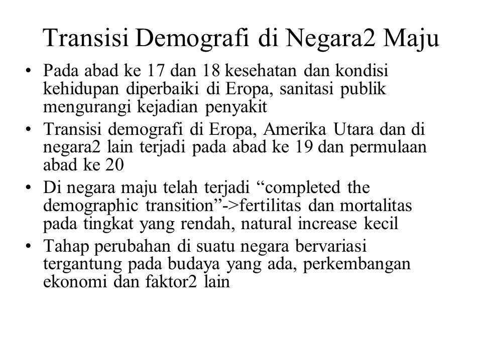 Transisi Demografi di Negara2 Maju