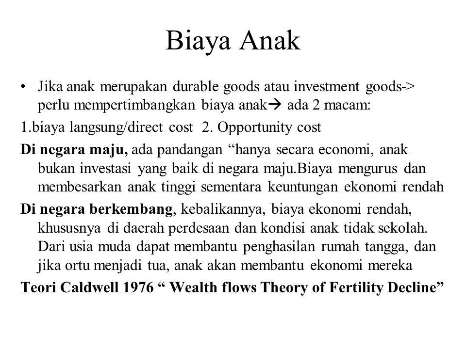 Biaya Anak Jika anak merupakan durable goods atau investment goods-> perlu mempertimbangkan biaya anak ada 2 macam: