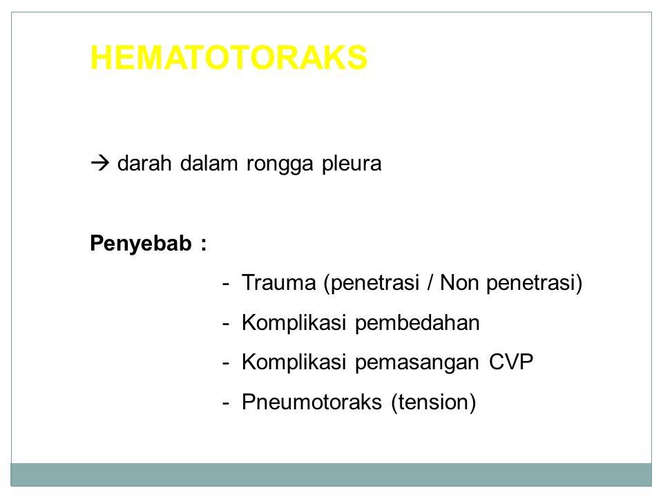 HEMATOTORAKS  darah dalam rongga pleura Penyebab :