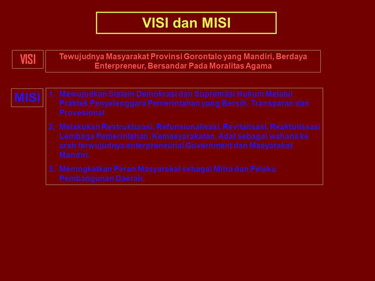 VISI dan MISI VISI. Tewujudnya Masyarakat Provinsi Gorontalo yang Mandiri, Berdaya Enterpreneur, Bersandar Pada Moralitas Agama.