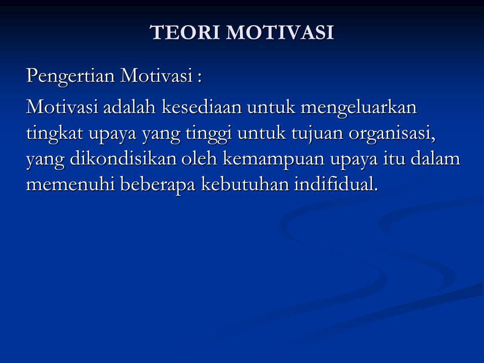 TEORI MOTIVASI Pengertian Motivasi :