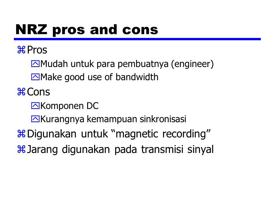 NRZ pros and cons Pros Cons Digunakan untuk magnetic recording
