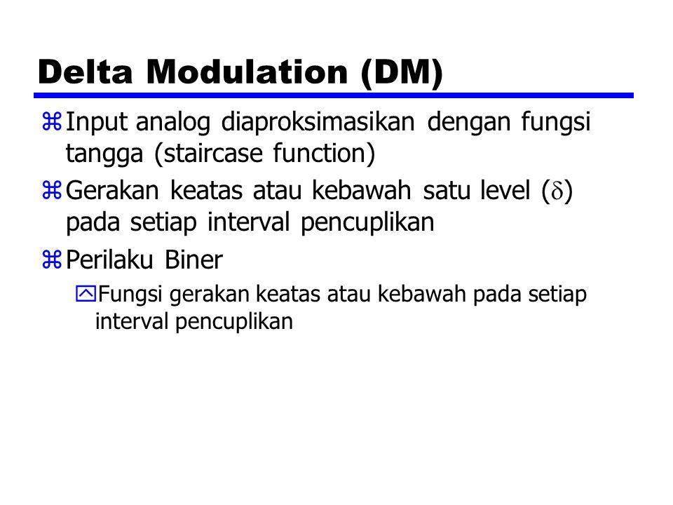 Delta Modulation (DM) Input analog diaproksimasikan dengan fungsi tangga (staircase function)