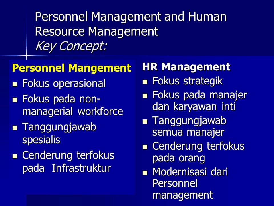 Personnel Management and Human Resource Management Key Concept: