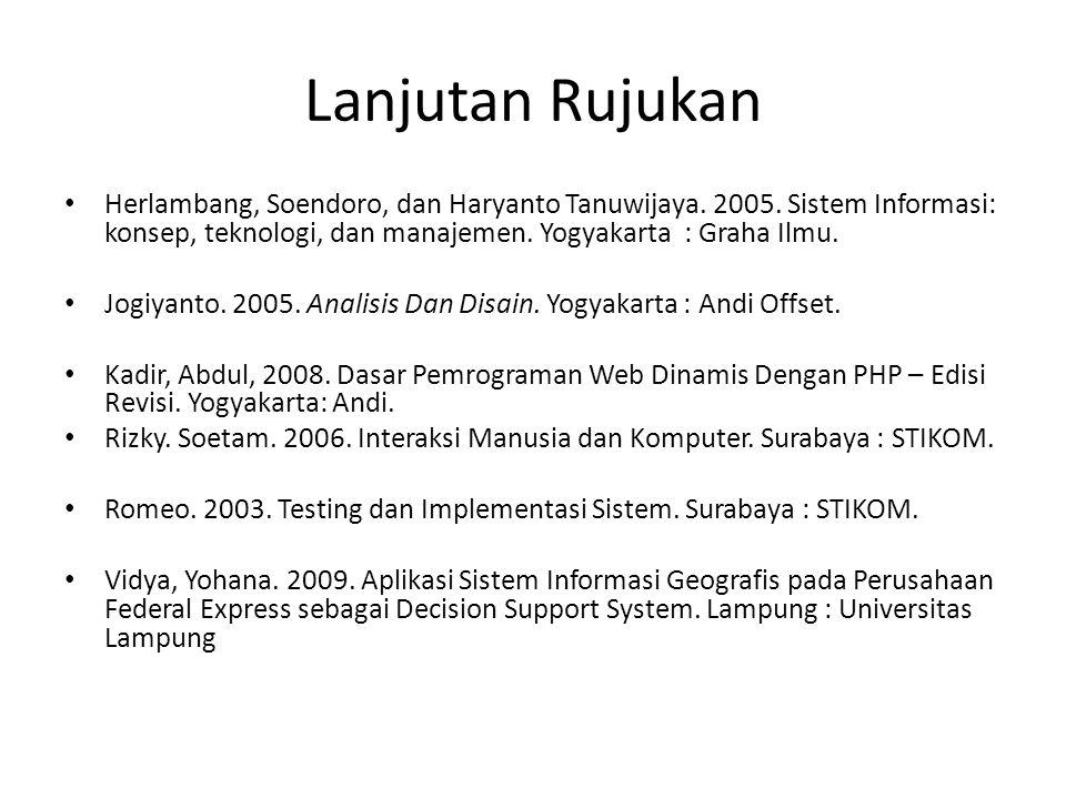 Lanjutan Rujukan Herlambang, Soendoro, dan Haryanto Tanuwijaya. 2005. Sistem Informasi: konsep, teknologi, dan manajemen. Yogyakarta : Graha Ilmu.