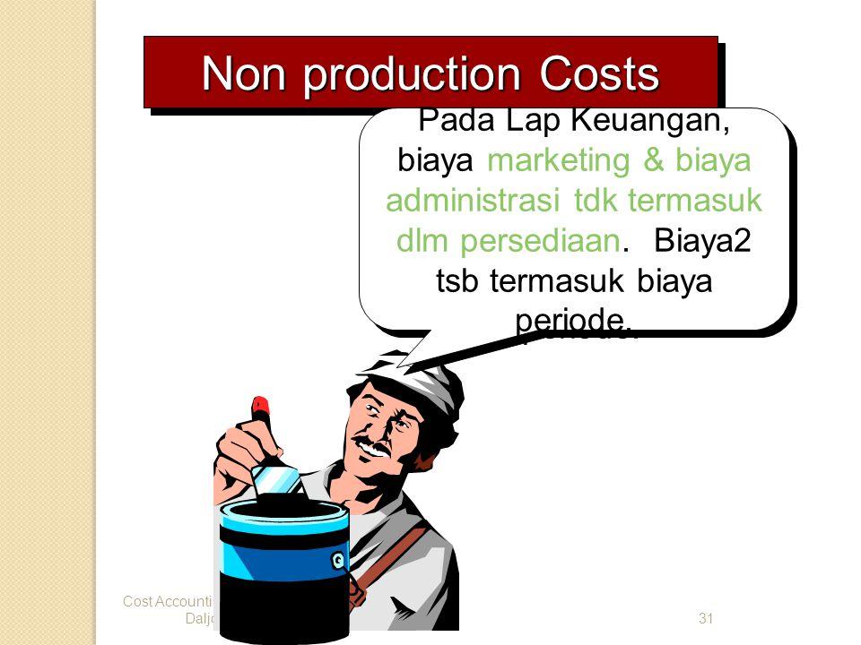 Non production Costs Pada Lap Keuangan, biaya marketing & biaya administrasi tdk termasuk dlm persediaan. Biaya2 tsb termasuk biaya periode.
