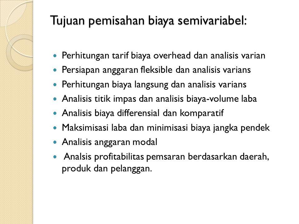 Tujuan pemisahan biaya semivariabel: