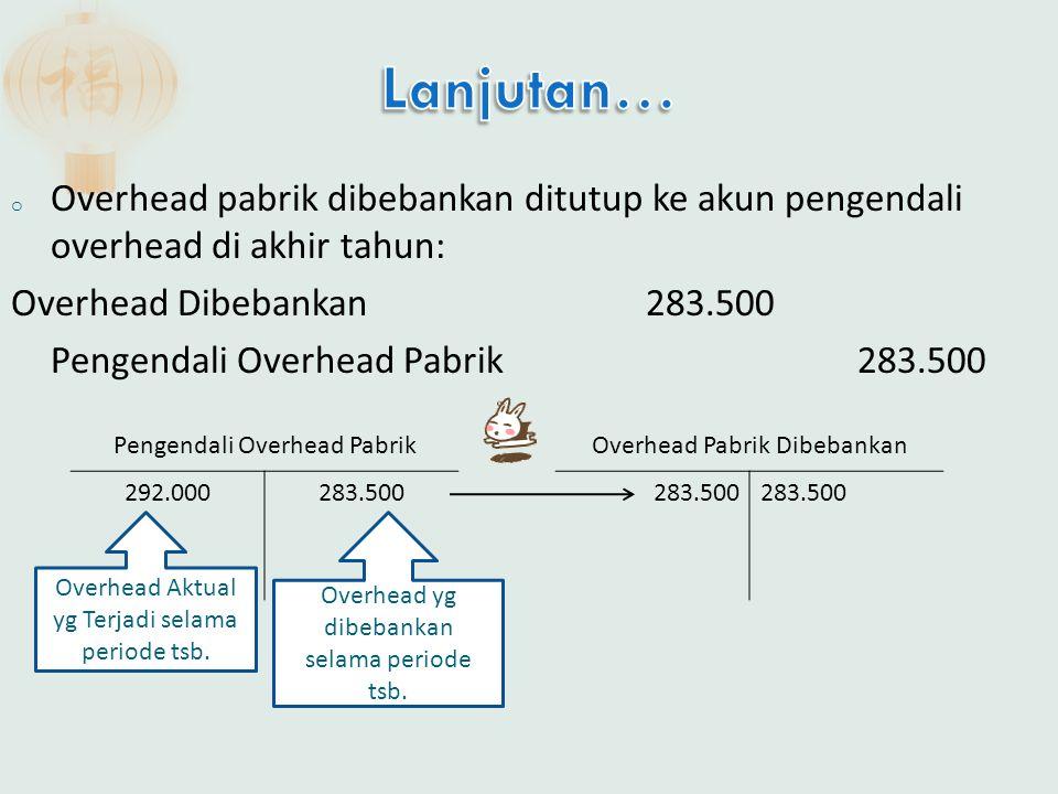 Lanjutan… Overhead pabrik dibebankan ditutup ke akun pengendali overhead di akhir tahun: Overhead Dibebankan 283.500.